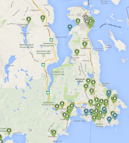 Capital Region EV Charging Stations Map | Victoria and Region ... on